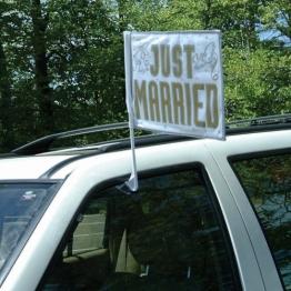 """Autofahne: Autoflagge, """"Just Married"""", 33 x 45 cm - 1"""
