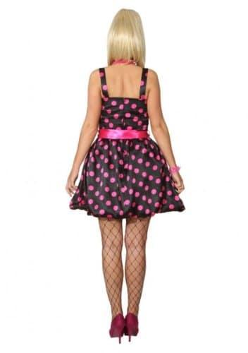 Ballonkleid mit Bindegürtel schwarz und pink gepunktet - 2