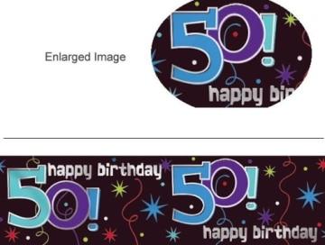 """Banner-Bordüre: Schriftzug """"Happy Birthday"""" und """"50"""", 360 cm x 13 cm - 2"""