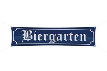 """Banner: Schild """"Biergarten"""", mit Metallösen und Faden, 180 x 40 cm - 1"""