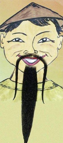 Bart: Chinesenbart (langer, dünner Schnauzer + langer Kinnbart), deluxe, schwarz - 1