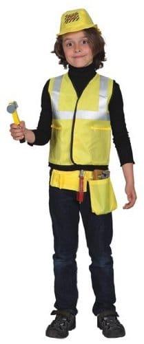 Bauarbeiter-Kostüm: Weste, Mütze, Säge, Zange, Hammer, Schraubendreher - 1