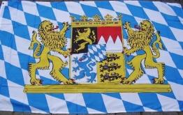 Bayern-Fahne: blau-weiße-Rauten, Wappen, 90 x 150 cm - 1