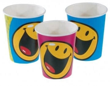Becher SMILEY, 8er-Pack Tischdekoration Geburtstagspartys - 1