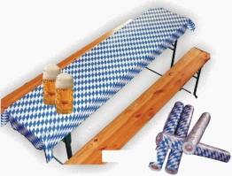 Biertischfolie mit blau-weißen Rauten, 50 x 1m, Lackfolie - 1