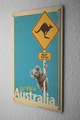 Blechschild Welt Reise Australien Koala Kängeruh Wand Deko Schild 20X30 cm - 1