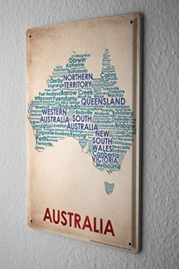 Blechschild Welt Reise Australien Landkarte Wand Deko Schild 20X30 cm - 1