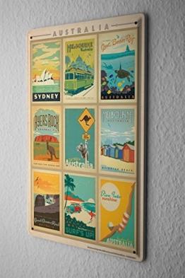 Blechschild Welt Reise Australien Sehenswürdigkeiten Kollektion Wand Deko Schild 20X30 cm - 1