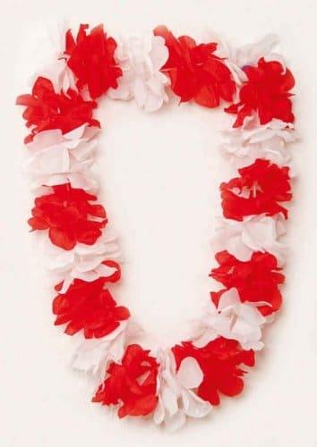 Blumen-Kette: Hulakette, rot-weiß - 1