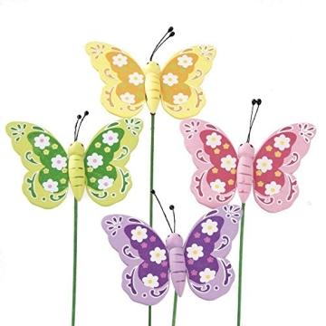 Blumen- Pflanzenstecker, Schmetterling aus Holz 12 Stück, grün-rosa-lila-gelb-orange, Frühlings- Osterdekoration, - 1