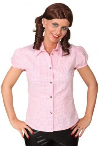 Bluse rosa-weiß klein kariert - 2