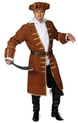 brauner Piratenmantel mit Gürtel, Jabot und Hut - 1