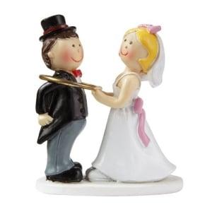 Brautpaar: Hochzeitspaar mit Trauring, 5 cm, Polyresin - 1