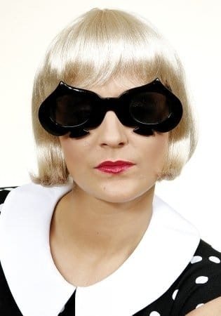 Brille: Sonnenbrille, Gestellform als Pik (Spielkarte), schwarz - 1