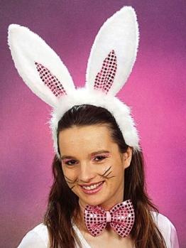 Bunny-Kostüm: Set deluxe mit Schleife und Haarreif mit Ohren - 1