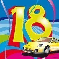 """Cocktail-Servietten, """"Birthday Swirl"""", Zahl 18, 25 x 25 cm, 20er-Pack - 1"""