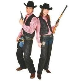Cowboy-Kostüm: Damen-Weste, Lederoptik - 1