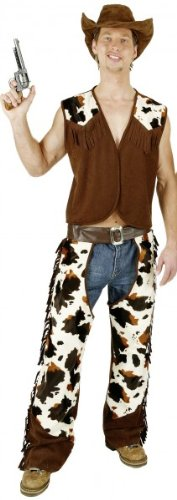 Cowboy-Kostüm: Herren-Chaps mit Weste, Lederimitat, Kuhfell-Optik - 1