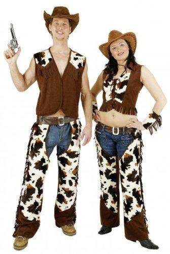 Cowboy-Kostüm: Herren-Chaps mit Weste, Lederimitat, Kuhfell-Optik - 2