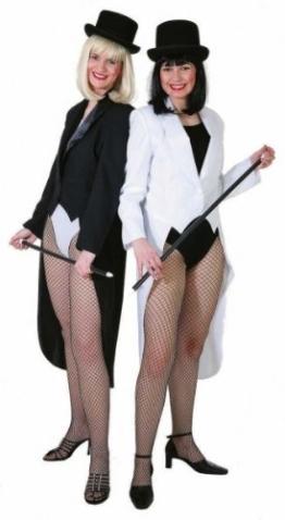 Damen-Showfrack schwarz mit Satinkragen und Futterstoff - 1