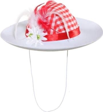 Damenhut Bavarian, rot-weiß mit Blume - 1