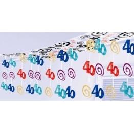 Deckendeko: 40. Geburtstag, bunt, 265 x 30 cm - 1