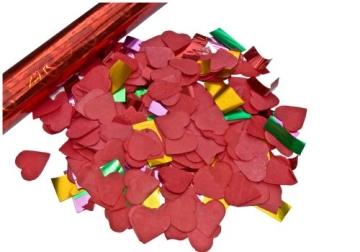 deelite Herz Confettishooter / Konfettikanonen 60cm mit roten Herzen - 2