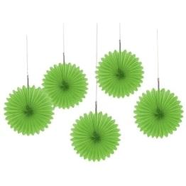 Deko-Fächer, einfarbig in Grün, 15 cm, 5er-Pack - 1