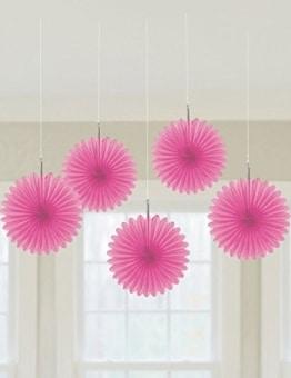 Deko-Fächer, einfarbig in Pink, 15 cm, 5er-Pack - 1