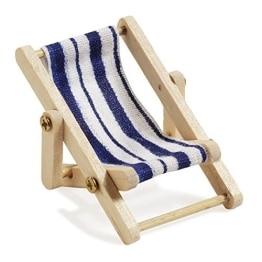 Deko-Liegestuhl, Holz, blau-weißer Stoffsitz, 5 x 3,5 cm - 1
