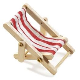 Deko-Liegestuhl, Holz, rot-weißer Stoffsitz, 5 x 3,5 cm - 1