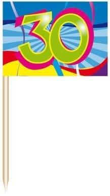 "Deko-Picker: Party-Picker, ""Birthday Swirl"", Zahl 30, 50er-Pack - 1"