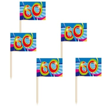 "Deko-Picker: Party-Picker, ""Birthday Swirl"", Zahl 60, 50er-Pack - 1"