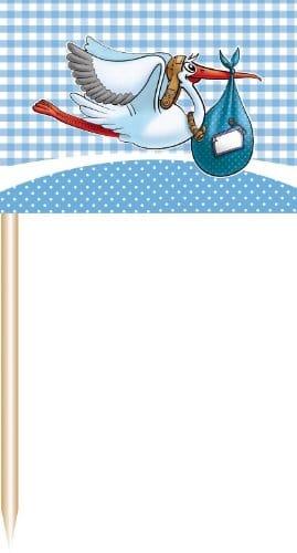 Deko-Picker: Party-Picker mit Storch, hellblau, 50er-Pack - 1