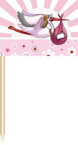 Deko-Picker: Party-Picker mit Storch, rosa, 50er-Pack - 1