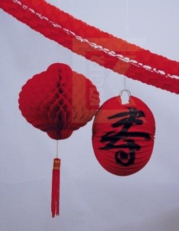 Deko-Set Asien: Girlande, Lampion, Wabenball - 1