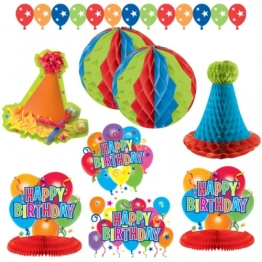 Deko-Set: Happy-Birthday-Set, bunt, 10-teilig - 1
