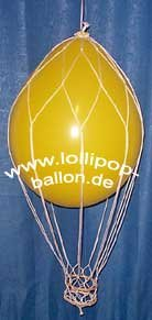 Deko-Set: Heißluftballon inkl. 2 Ballons, Netz und Gondel, Gesamtlänge 20 cm - 2