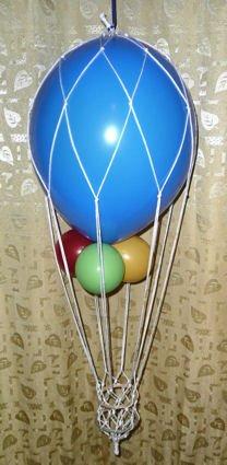 Deko-Set: Heißluftballon inkl. 2 Ballons, Netz und Gondel, Gesamtlänge 20 cm - 3