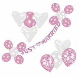 """Deko-Set """"just married"""" mit Banner, Luftballons und Deko-Material - 1"""