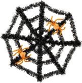 Deko: Spinnennetz, schwarz, mit orangefarbenen Spinnen - 1