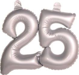 Deko zur Silberhochzeit: Zahl 25, aufblasbar, 35 cm - 1