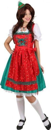 """Dirndl: Dirndl-Kombination """"Evi"""", Kleid und Schürze, rot-grün, verschiedene Größen - 1"""