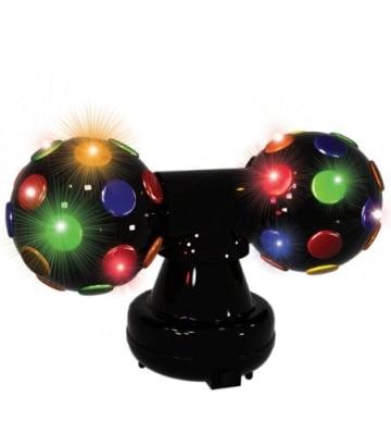 Disco-Licht: Doppel-Disco-Leuchte mit bunten Lichtfarben, silbergrau, 180 x 300 x 120 mm - 1