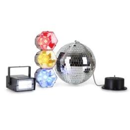 Disco-Mega-Party-Set: Discokugel mit Motor und Strahler, 3er-Lichtorgel, Stroboskop-Blitzer - 1