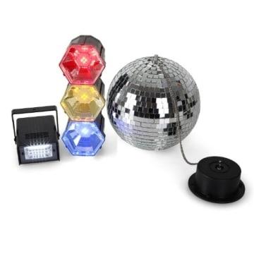 Disco-Mega-Party-Set: Discokugel mit Motor und Strahler, 3er-Lichtorgel, Stroboskop-Blitzer - 2