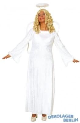 Dreiteiliges Engel-Set: weiß-goldenes Kleid, Flügel, Heiligenschein - 1