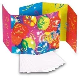 """Einladungskarten mit Umschlag, """"Ballon-Party"""", 6 Stück - 1"""
