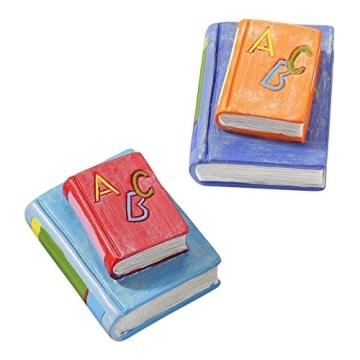 Einschulung: Tischdeko, Bücherstapel, blau-orange, Kunststein, ca. 4 cm - 1