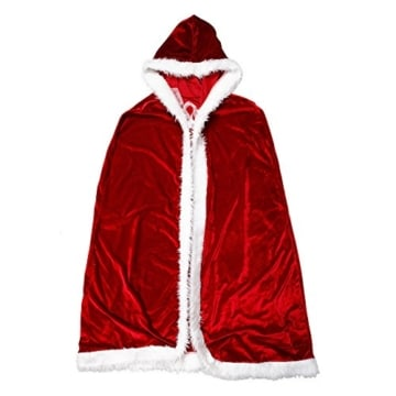 Eleery Länge Weihnachtsfrau Umhang mit Kapuze Kostüm ROT Weinachten Party Cosplay Kapuzenmantel (Rot) -